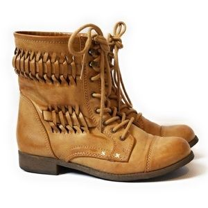 Rampage | Camel Woven Distressed Combat Boots